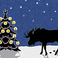 Candlelit Christmas Tree And Moose In The Snow by Nancy Mueller