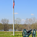 Cannon And Flagpole Overlooking River by Meandering Photography