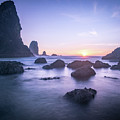 Cannon Beach Rocks Sunset by Travis Elder