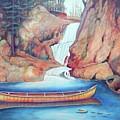 Canoe And Waterfall by Pete  TSouvas