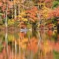 Canoe Fishing  Fall by Jo-Ann  Matthews