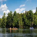 Canoe Paddling In Algonquin Park by Les Palenik