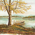 Canoe Tied By Tree by Samuel Showman