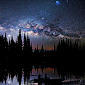 Canoeing - Milky Way - Night Scene by Andrea Kollo