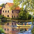 Canoeing Past The Mill by Brent Arlitt
