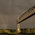 Cape Cod Train Bridge With Rainbow by Michelle Himes