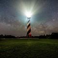 Cape Hatters Light House Stars by Robert Loe