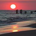 Cape May Nj Sunset, Philadelphia Beach by Russell Ingram