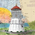 Cape Mendocino Lighthouse Ca Nautical Chart Map by Cathy Peek