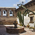 Capistrano Mission Courtyard by Sharon Foster