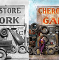 Car - Garage - Cherokee Parts Store - 1936 - Side By Side by Mike Savad