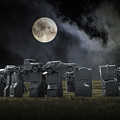 Car Henge Under The Moonlight by Randall Nyhof