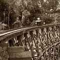 Car On A Wooden Railroad Trestle Circa 1916 by California Views Archives Mr Pat Hathaway Archives