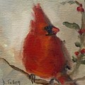 Cardinal And Holly by Donna Tuten