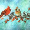 Cardinal Family Three Kids by Vickie Wade
