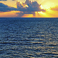 Caribbean Sunrise At Sea - Ocean - Sun Rays by Jason Politte