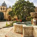 Carmel Church And Fountain by Sharon Foster