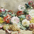 Carnations, Roses, Grapes And Peaches by Georges Jeannin