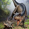 Carnotaurus Attacking An Antarctopelta by Mohamad Haghani