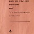 Carole Spandau Archived Liste Des Createurs Du Quebec 1972 by Carole Spandau