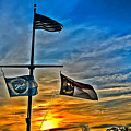 Carolina Beach Lake Flag Pole V2 by David Anderson