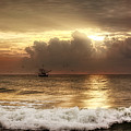 Carolina Beach Shrimp Boat At Sunrise by Chrystal Mimbs