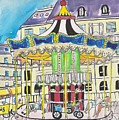 Carousel Paris Illustration Hand Drawn by Dragana  Gajic