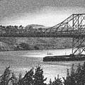 Carquinez Bridge Pointilized B And W by Joyce Dickens
