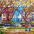 Carre St Louis Colorful Victorian Houses Plateau Mont Royal Park Scene Painting C Spandau Art        by Carole Spandau
