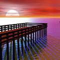Carribean Sunset Pier by Nicholas Burningham