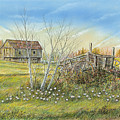 Cart And Barn On A Spring Day by Samuel Showman