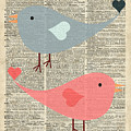 Cartoon Birds in love  by Anna Wilkon