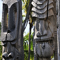 Carved Statues At Puuhonua O Honaunau National Historical Park by Andy Smy