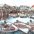 Carvers Harbour With Boats , Vinal Haven,  Maine by Michele A Loftus
