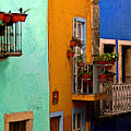 Casas In Mint Terracotta And Blue by Mexicolors Art Photography