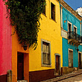 Casas In Pink Orange Yellow Blue by Mexicolors Art Photography