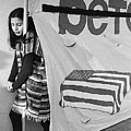 Casket On Banner Young Girl Anti Gulf War Rally Tucson Arizona 1991 by David Lee Guss