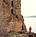 Castle Ruins On The Seashore In Ireland by Douglas Barnett