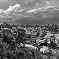 Castlewood Canyon And Storm - Black And White by Timothy Ruf