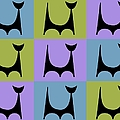 Cat 2 Purple Green And Blue by Donna Mibus
