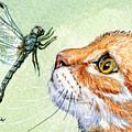 Cat And Dragonfly  by Svetlana Ledneva-Schukina
