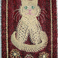Cat And Flowers. Macrame Art by Sofia Metal Queen
