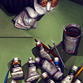 Cat And Paint Tubes by Carol Wilson