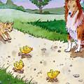 Cat Chasing Chicks by Valer Ian