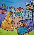 Cat Family Gathering by Ellen Levinson