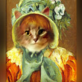 Cat In Bonnet by Gravityx9 Designs
