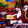 Cat In The Kitchen Bottling Fruit by Dianne  Connolly