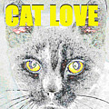 Cat Love Yellow Work by David Lee Thompson
