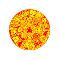Cat Mandala Yellow And Red by Larry Carey