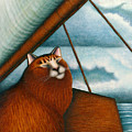 Cat On Sailboat by Carol Wilson
